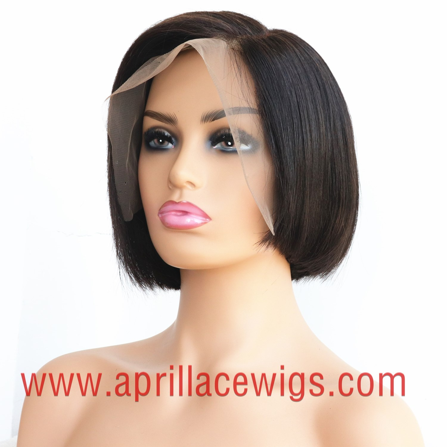 8 inches 150% density virgin asymmetry short bob straight 13x6 Lace Front Wig