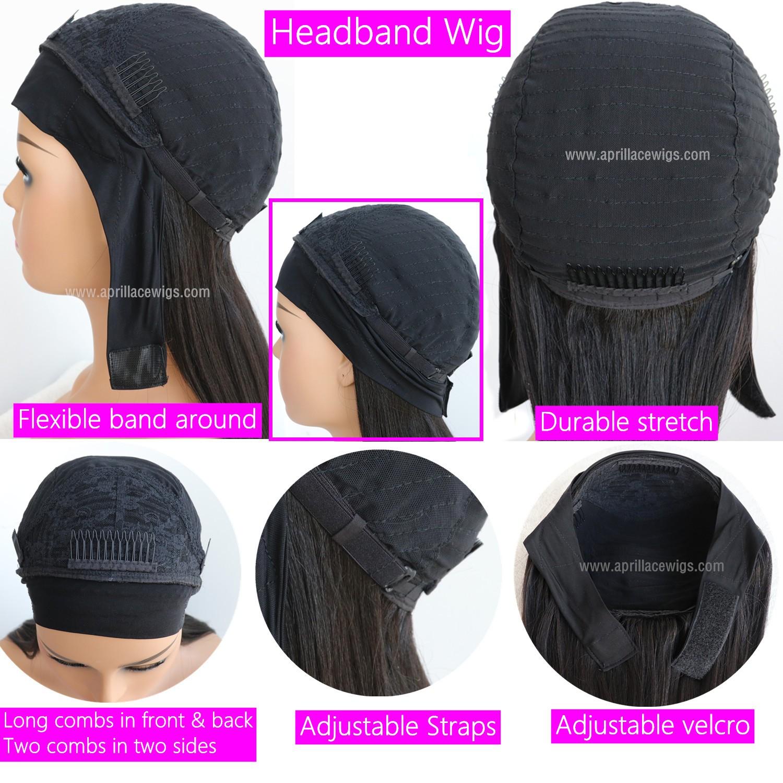 Headband Wigs Silk Straight Brazilian Virgin Hair Wigs For Women