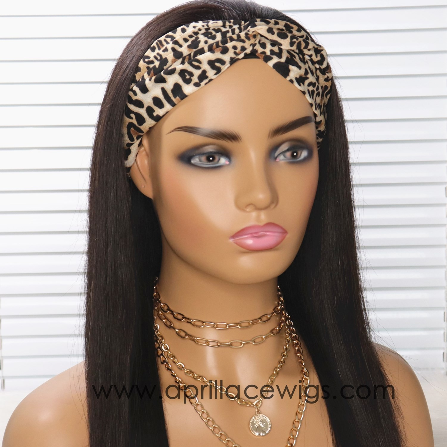 Headband Wigs Silk Straight Brazilian Virgin Hair Wigs For Women