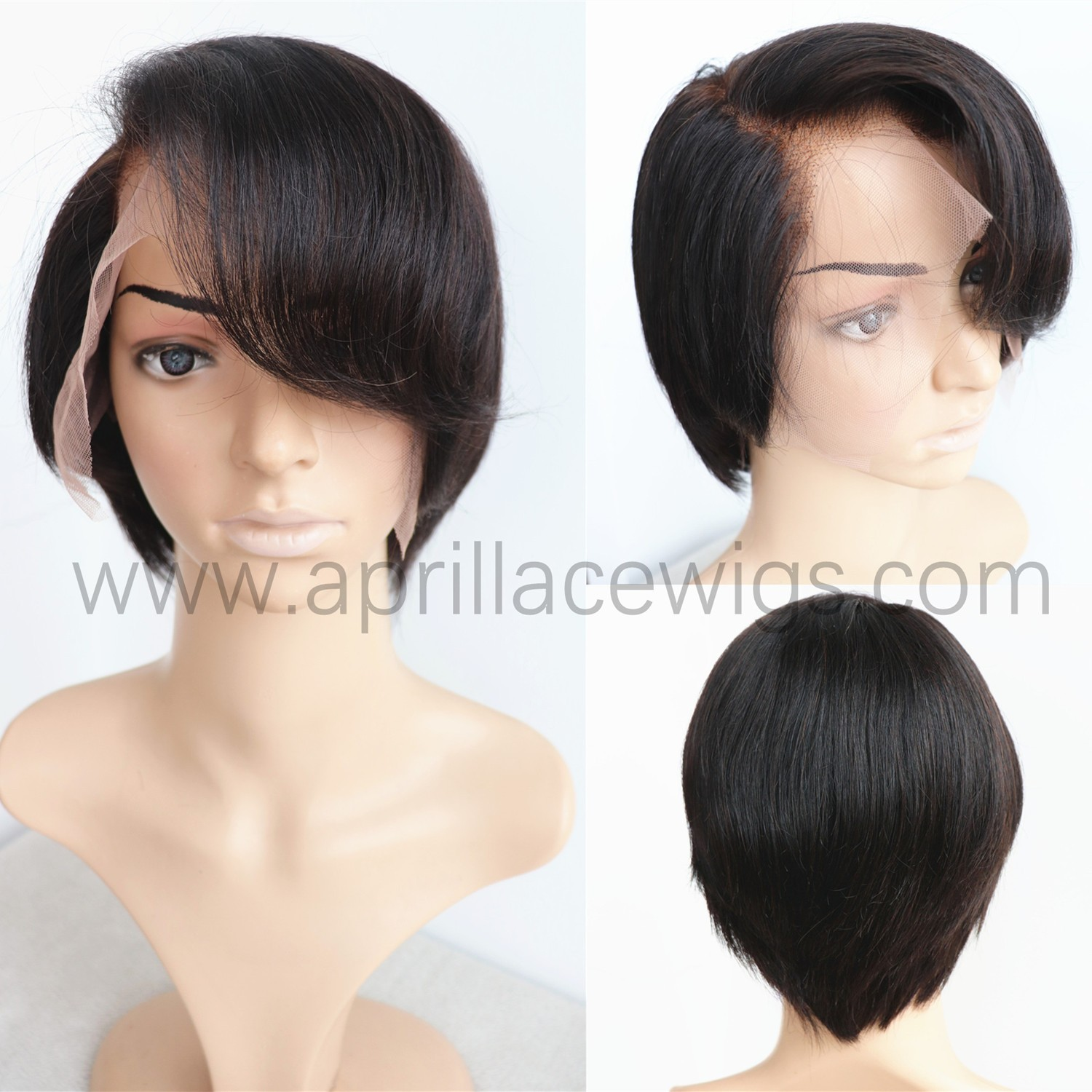 Virgin straight pixie cut 150% density 6'' lace front wig preplucked hairline