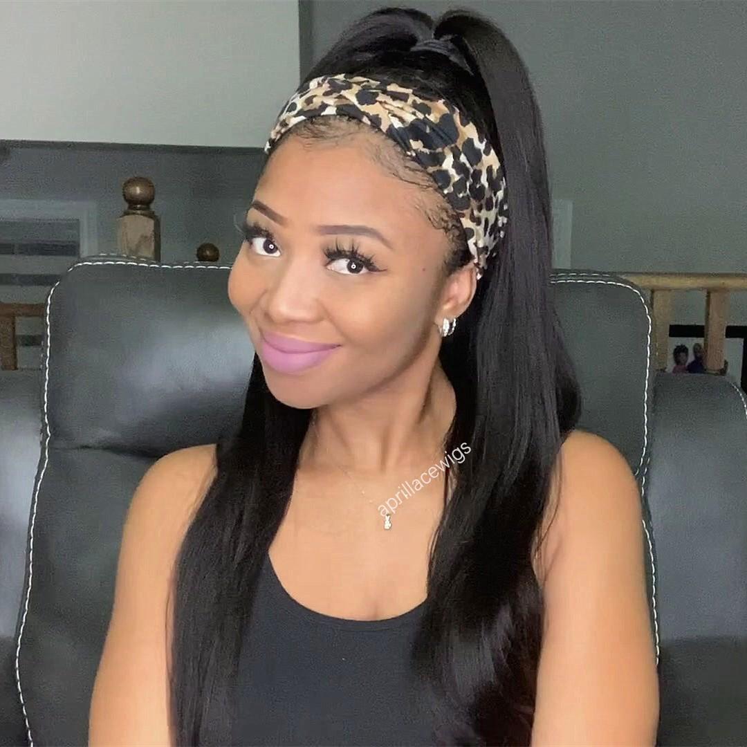 Headband Wigs Light Yaki Virgin Hair Wigs For Black Women