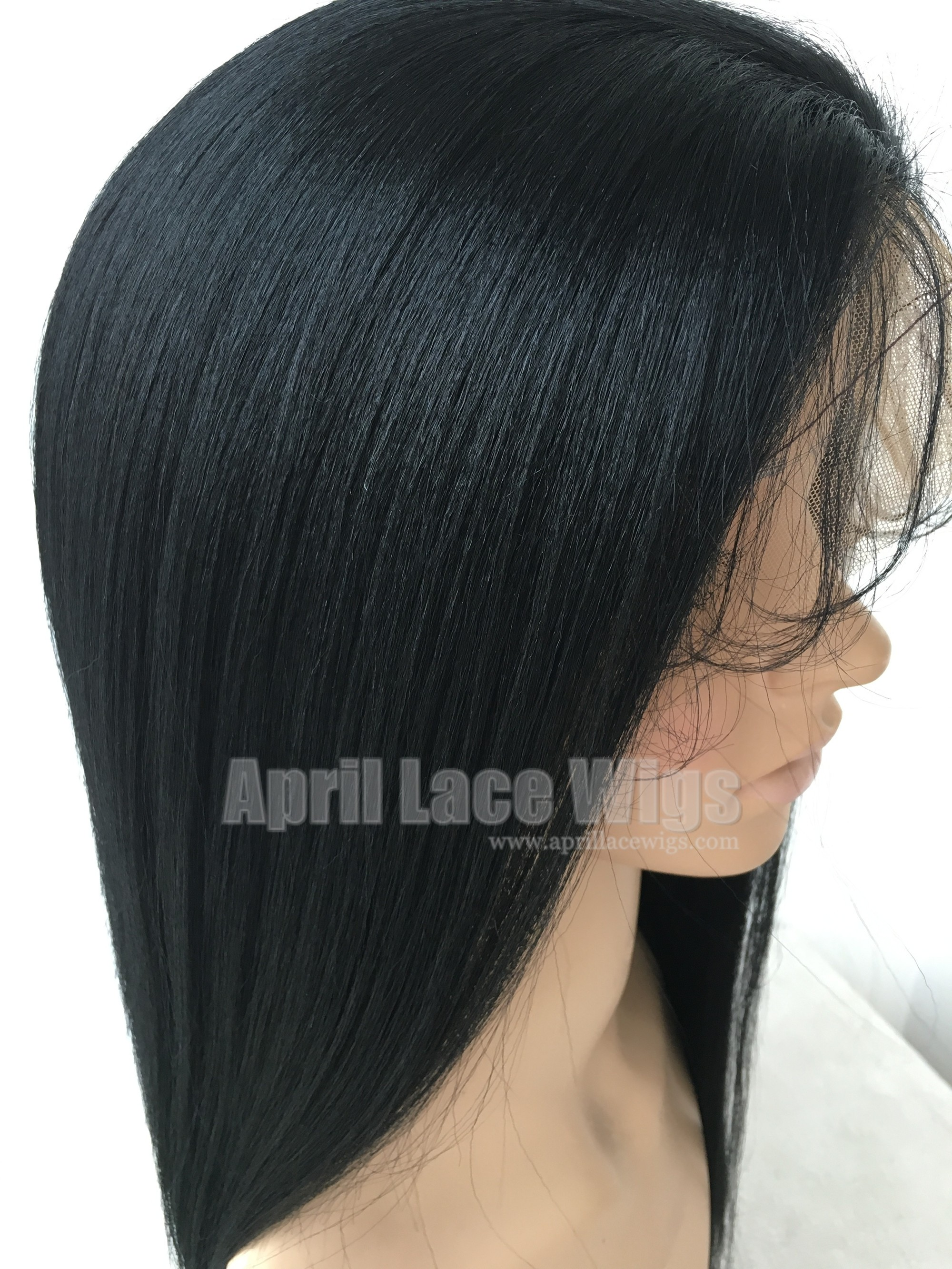 yaki straight human hair glueless full lace wig
