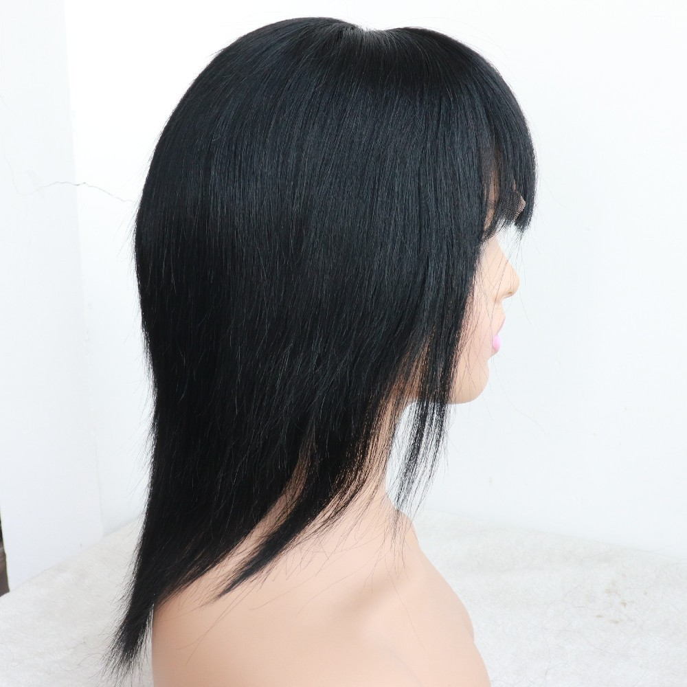 10 inches color 1 straight bob cut silk top glueless full lace wig with bang