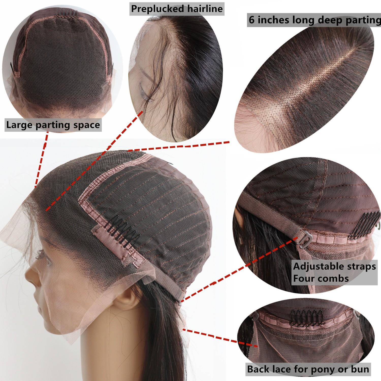 Brazilian virgin Human hair Highlight Brown 13x6 Lace Front wig