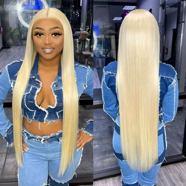Virgin Human Hair 613 blonde Glueless 13x6 lace front wig preplucked hairline LF0613
