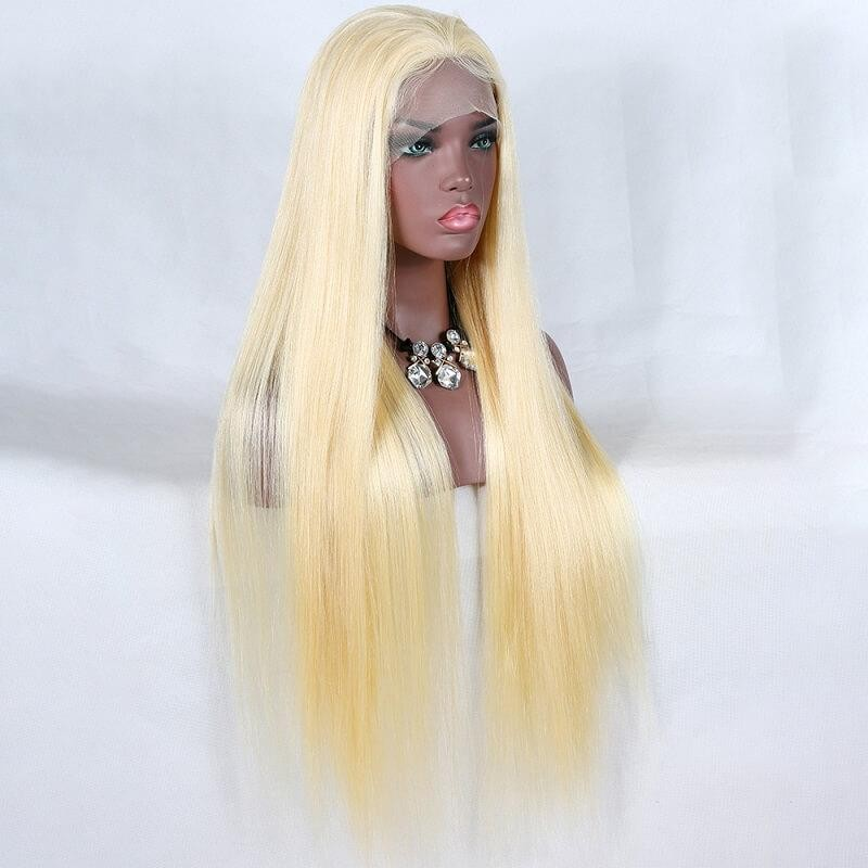 Best virgin human hair color 613 with dark roots 360 lace wig preplucked hairline