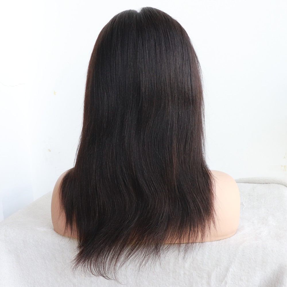 12 inches color 1b 160% density yaki straight Silk Top glueless full lace wig