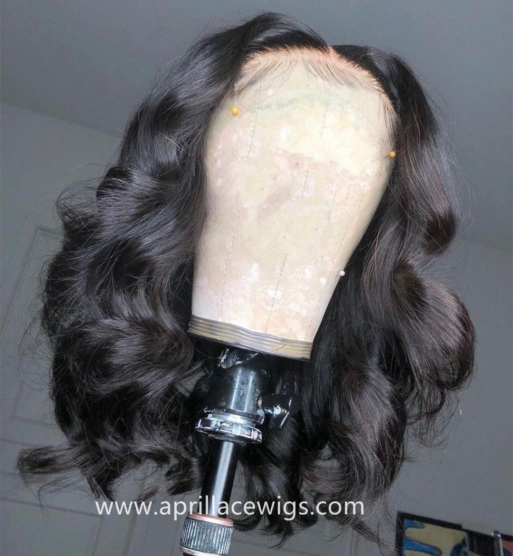 BOB CUT Big Curly 360 Wigs 100% Virgin Human Hair Preplucked Hairline