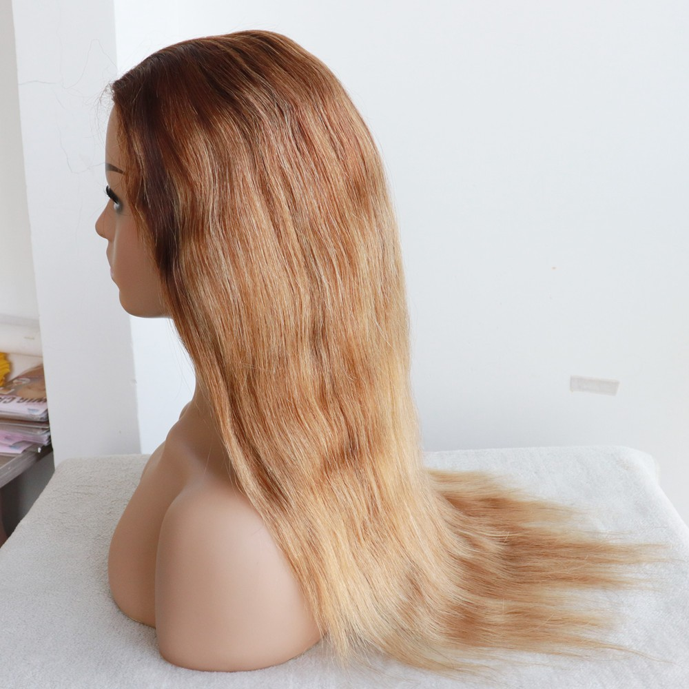 20 inches customized blonde color natural straight glueless Full Lace wig 4x4 silk top