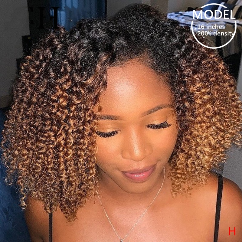 Kinky curly ombre brown hd wig