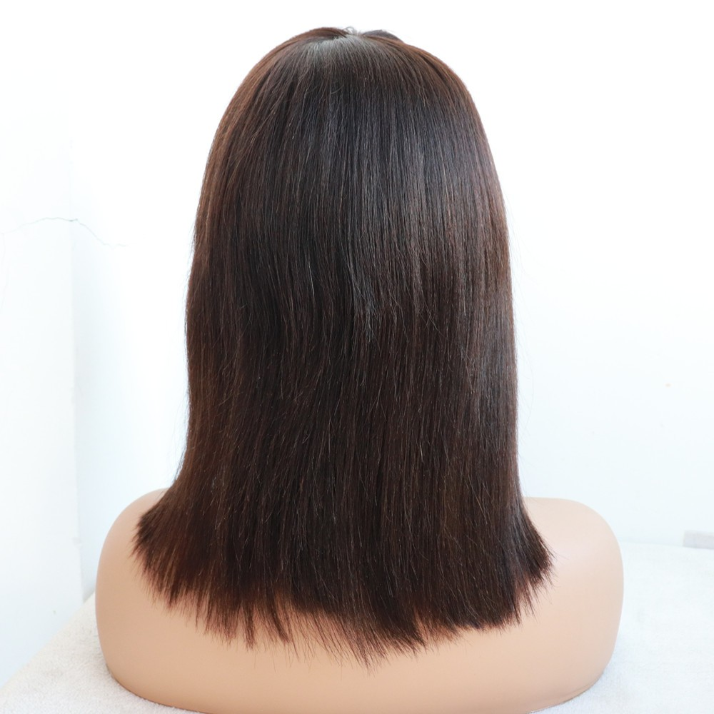 12 inches color 1b Yaki Straight Silk Top Glueless Full Lace Wig Chinese bang