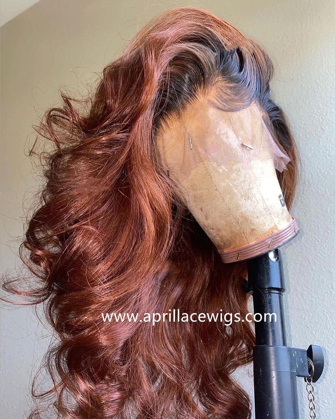 Virgin hair Loose Wave Ombre brown glueless 360 wig preplucked hairline